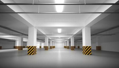 Abstracte lege witte ondergrondse parking interieur Stockfoto