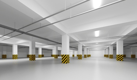 Abstract empty white underground parking perspective interior Stock Photo