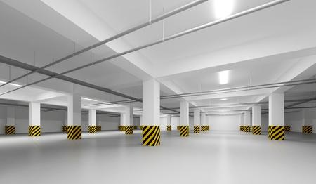 voiture parking: R�sum� vide int�rieur blanc en perspective d'un parking souterrain