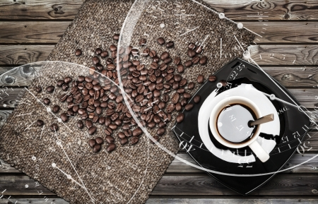 Cup of espresso coffee with beans and canvas on weathered wooden table  Coffee break metaphor illustration illustration