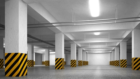 parking space: Empty underground parking abstract interior perspective Stock Photo