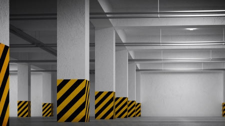 Empty underground parking abstract interior photo