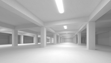 Abstract white empty underground parking interior photo