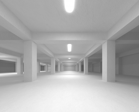 Perspective view of an abstract white empty underground parking interior Stock Photo - 19167378