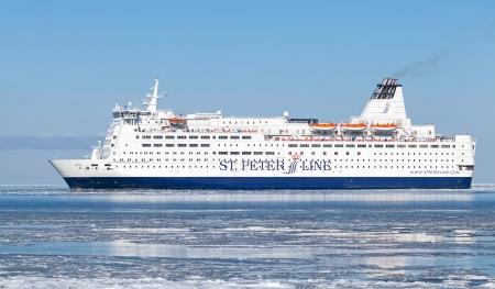 spl: TALLINN, ESTONIA - MARCH 2013  Princess Anastasia passenger ferry enters the port of Tallinn on March 14, 2012  MS SPL Princess Anastasia is a cruise ferry owned by St  Peter Line until September 2010 Editorial