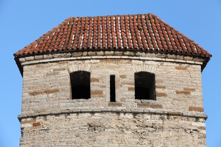 Fragment of ancient stone fortress in old Tallinn, Estonia photo