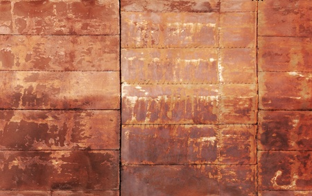 welds: Red rusted metal wall texture with welds Stock Photo