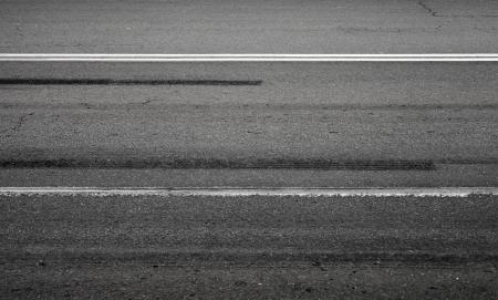 emergency braking: Emergency braking tracks on asphalt road