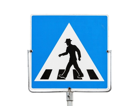 Blue square pedestrian crossing sign on metal pole isolated on white photo