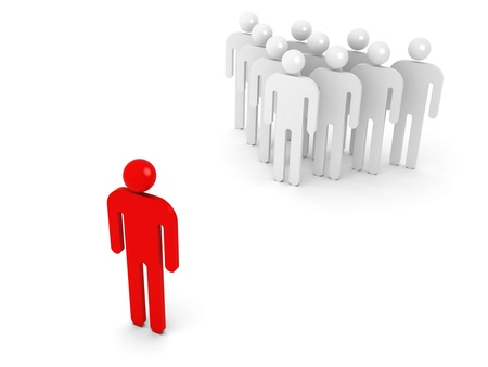 alone in crowd: Group of schematic people and one opposite red person on white background with soft shadow. 3d illustration concept Stock Photo