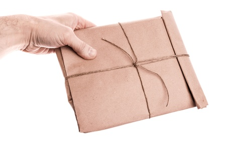 man s: Man s hand holds envelope Stock Photo