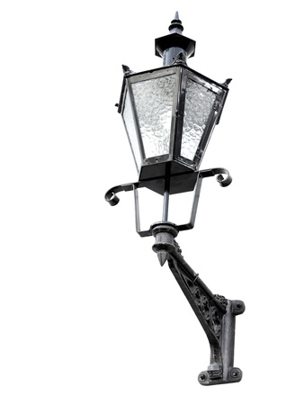 Vintage black street lamp lantern isolated on white  Tallinn, Estonia photo