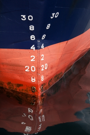 numbering: Bow of the cargo ship with red waterline and draft scale numbering