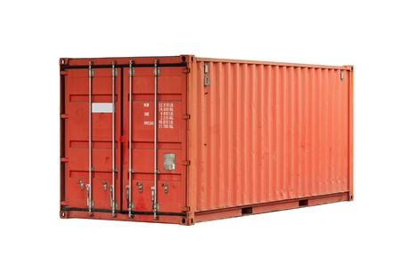 container port: Bright red metal freight shipping container isolated on white
