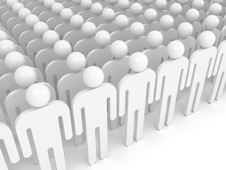 Array of white abstract people  Crowd concept illustration illustration
