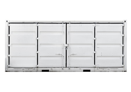White metal container with doors isolated on white  Front view photo
