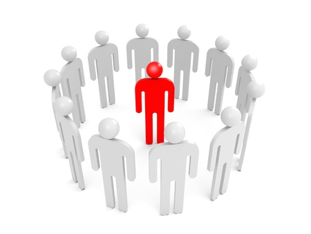 condemnation: Abstract white 3d people stand in ring with one red person inside  Condemnation illustration concept