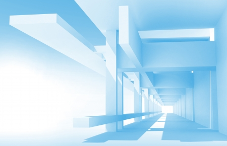 Abstract architecture 3d background with perspective view of blue corridor construction