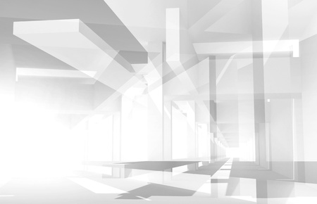 chaotic: Abstract architecture 3d background with perspective view of chaotic construction Stock Photo