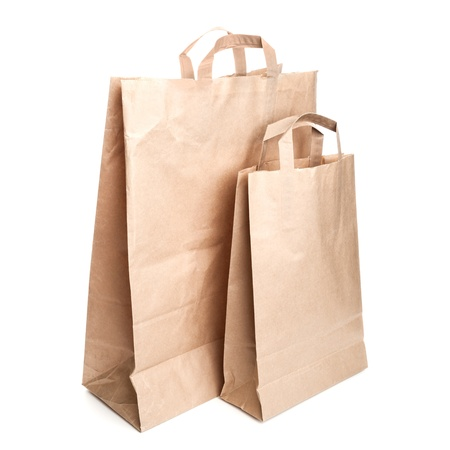 Two shopping paper bags isolated on white Stock Photo - 20297335