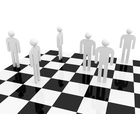 White abstract people stand on a chessboard photo