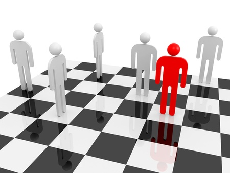 White abstract people with one red individual figure on a chessboard photo
