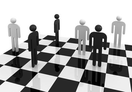 White and black abstract 3d people stand on chessboard