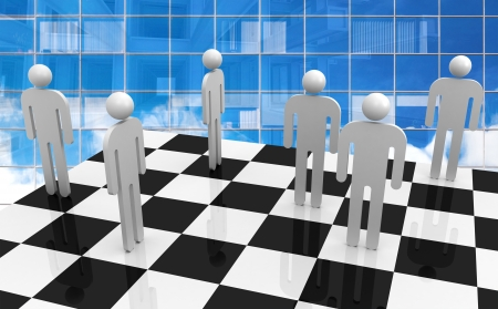 White abstract 3d people stand on chessboard with blue glass office wall on a background  Office workers competition concept photo