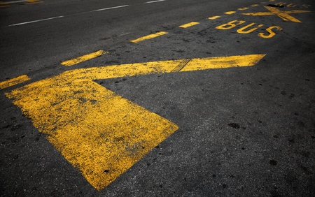 Yellow bus stop marking on dark asphalt road photo