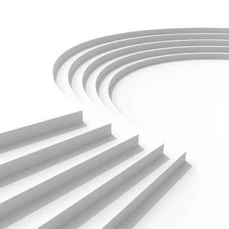 Abstract architecture background with curved stairs. 3d render illustration illustration