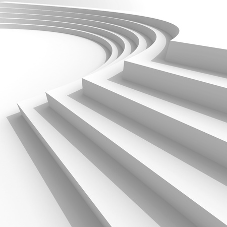 White abstract architecture background with curved stairs. 3d illustration illustration