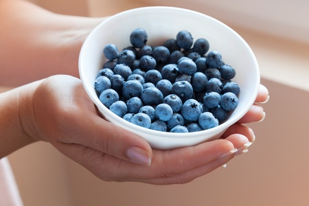 Bowl of blueberries in womans hands photo