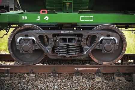 Industrial rail car wheels closeup photo photo