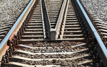 straight path: Modern railroad perspective. Industrial transportation background
