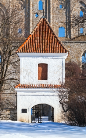 TALLINN - MARCH 14: Entrance tower to Pirita Convent on March 14, 2013 in Pirita area, Tallinn, Estonia. Pirita Convent built in 1436 was a monastery dedicated to St. Brigitta