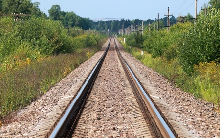 Straight railway perspective with poles, green grass and blue sky Stock Photo - 21455295