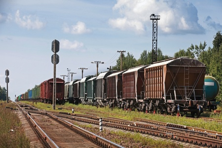 Railway cars stand on cargo station in Russia Stock Photo - 21455314