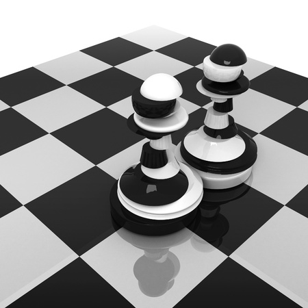 zdradę: Pokrojone czarne i białe pionki na szachownicy zdradę i dwulicowość koncepcji ilustracji