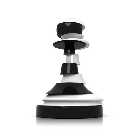 betrayal: Sliced black and white pawn isolated on white  Treason and duplicity concept illustration