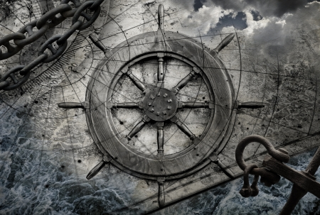 ancient ships: Vintage navigation background illustration with steering wheel, charts, anchor, chains