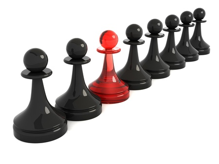 One red pawn in row of black  3d render illustration isolated on white Stock Photo