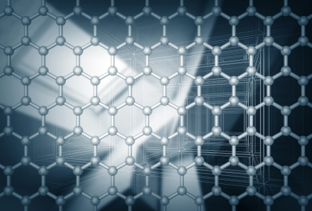 Graphene layer structure model. 3d render illustration with blurred abstract background illustration