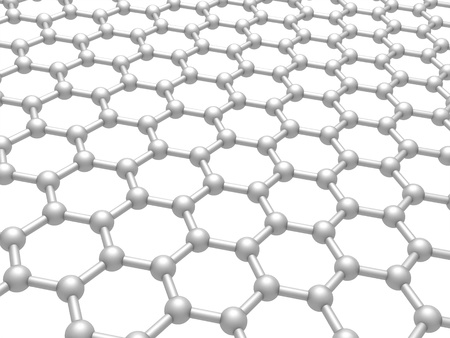 Graphene layer structure schematic model  3d render illustration isolated on white