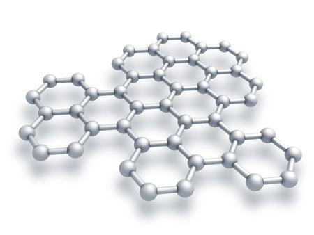 Grafeen structuur fragment schematisch model 3d render illustratie op wit wordt geïsoleerd