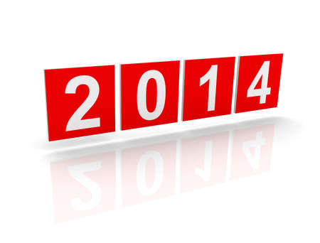 Red squares with new 2014 year numbers on white background with soft shadows  3d design element Stock Photo - 21780815