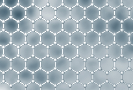 frontal: Graphene molecular layer structure schematic model  Frontal 3d render illustration