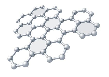 graphene: Graphene molecule structure fragment schematic model  3d render illustration isolated on white Stock Photo