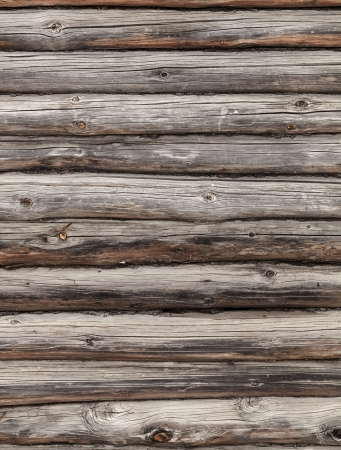 Wooden wall of rural house made of logs. Photo background texture photo