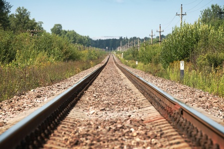 Long straight modern railway perspective with poles, green grass and blue sky photo