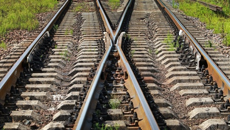 Modern railroad junction perspective  Transportation photo background photo